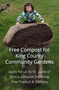girl with wheelbarrow of compost